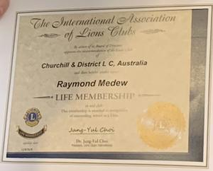 Lions April 2021 Life Membership Certificate