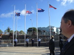 ANZAC Day Churchill 25 Flags with cadets.JPG